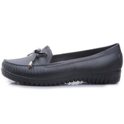 [時時樂限定]韓國KW美鞋館-日雜定番蝴蝶結平底豆豆雨鞋(4色可選)