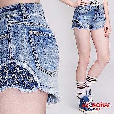 ETBOITE 箱子 BLUE WAY 異色繡花短褲(深藍)