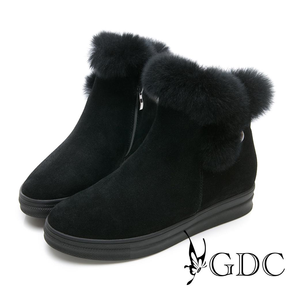 GDC-真皮秋冬超萌毛毛圓頭短靴-黑色
