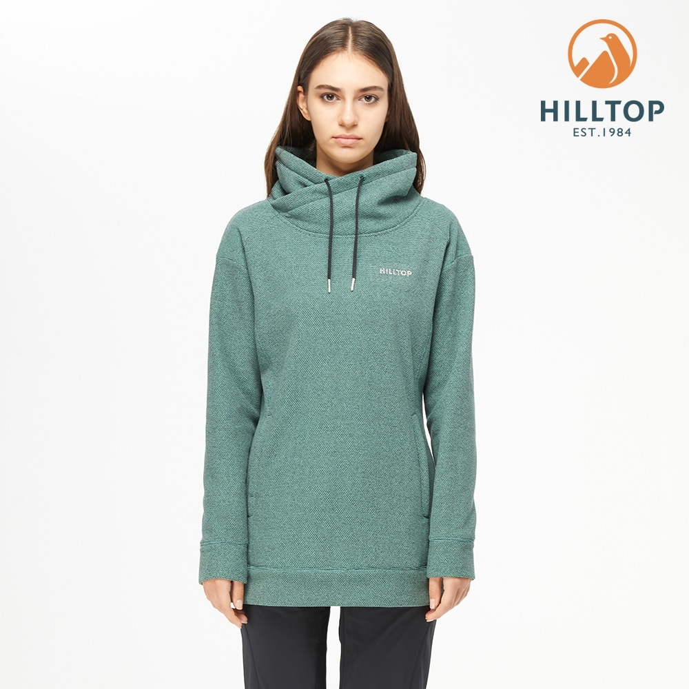 【hilltop山頂鳥】女款POLYGIENE抗菌長版保暖刷毛上衣H51FK1海龜綠麻花