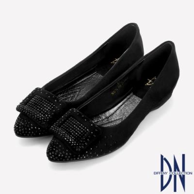 DN平底鞋_氣質羊絨水鑽方扣內增高尖頭鞋-黑