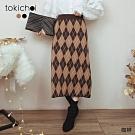 東京著衣 優雅舒適腰鬆緊撞色幾何針織長裙(共二色)