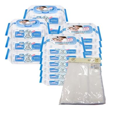 貝恩Baan 嬰兒保養柔濕巾80抽6入+20抽12入+Q-BBY DOG 嬰兒純白澡巾4入