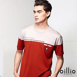 oillio歐洲貴族 短袖圓領拼色線衫 抗起球質感天絲棉材質 紅色