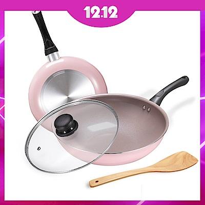 [時時樂限定]義大利CUOCO綻粉陶瓷不沾鍋具4件組(炒鍋+平底鍋)限時加贈8吋廚師刀
