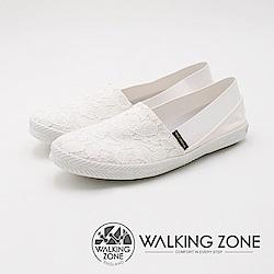 WALKING ZONE 優雅蕾絲懶人帆布鞋 女鞋-白(另有深藍)