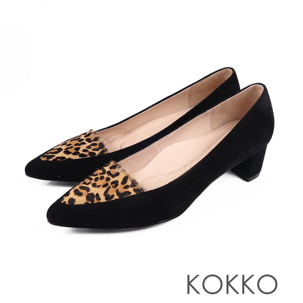 KOKKO-日本同步異材尖頭小V真皮粗跟-豹紋黑