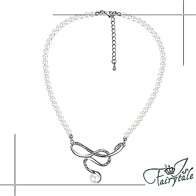 iSFairytale伊飾童話 幻影微風 水鑽白銀珍珠串項鍊