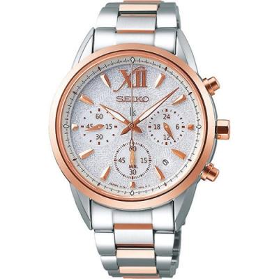 SEIKO精工 LUKIA太陽能冬雪三眼計時手錶SSC828J1-銀X半金/36mm