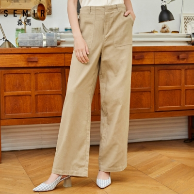 SEMIR森馬-經典復古造型顯瘦寬管寬褲-女