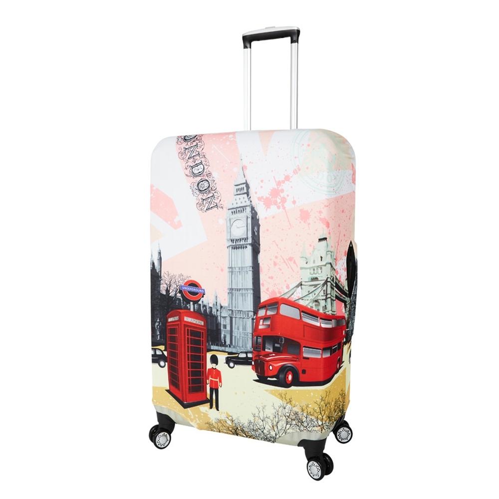 CS0329L粉紅倫敦 L號26-28吋日版彈力拉桿箱保護套 行李箱套