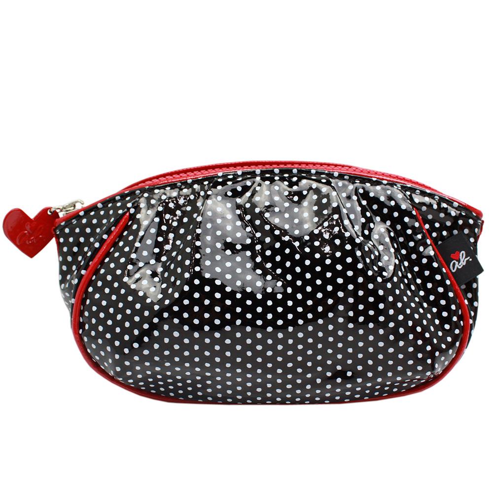 agnes b.愛心形狀拉鍊點點 防水PVC船型化妝包(大款/黑色)