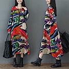 民族文藝寬鬆印花連身裙M-2XL-Keer