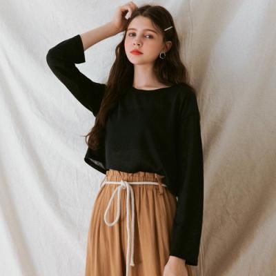 AIR SPACE LADY 混色針織長袖短版上衣(黑)