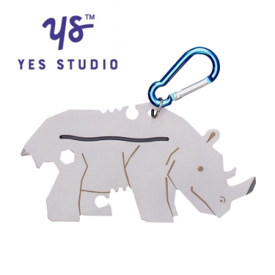 【YES STUDIO】7合1黑犀牛造型隨身工具卡
