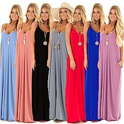 La Belleza性感低胸素色V領超長版落地細肩帶長洋裝