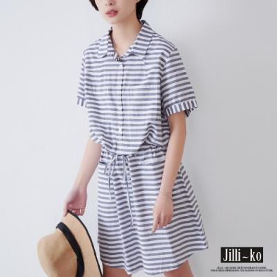 JILLI-KO 百搭拼接條紋收腰洋裝- 黑白條紋