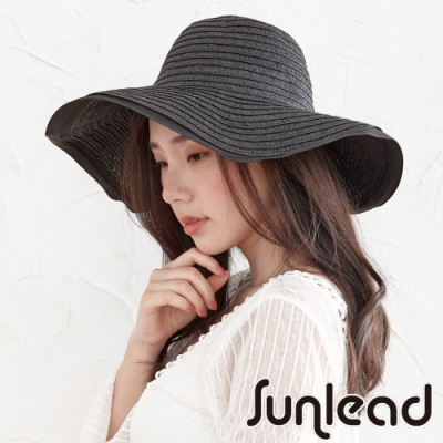 Sunlead 防曬寬緣時尚圓頂遮陽帽/草帽 (黑色)