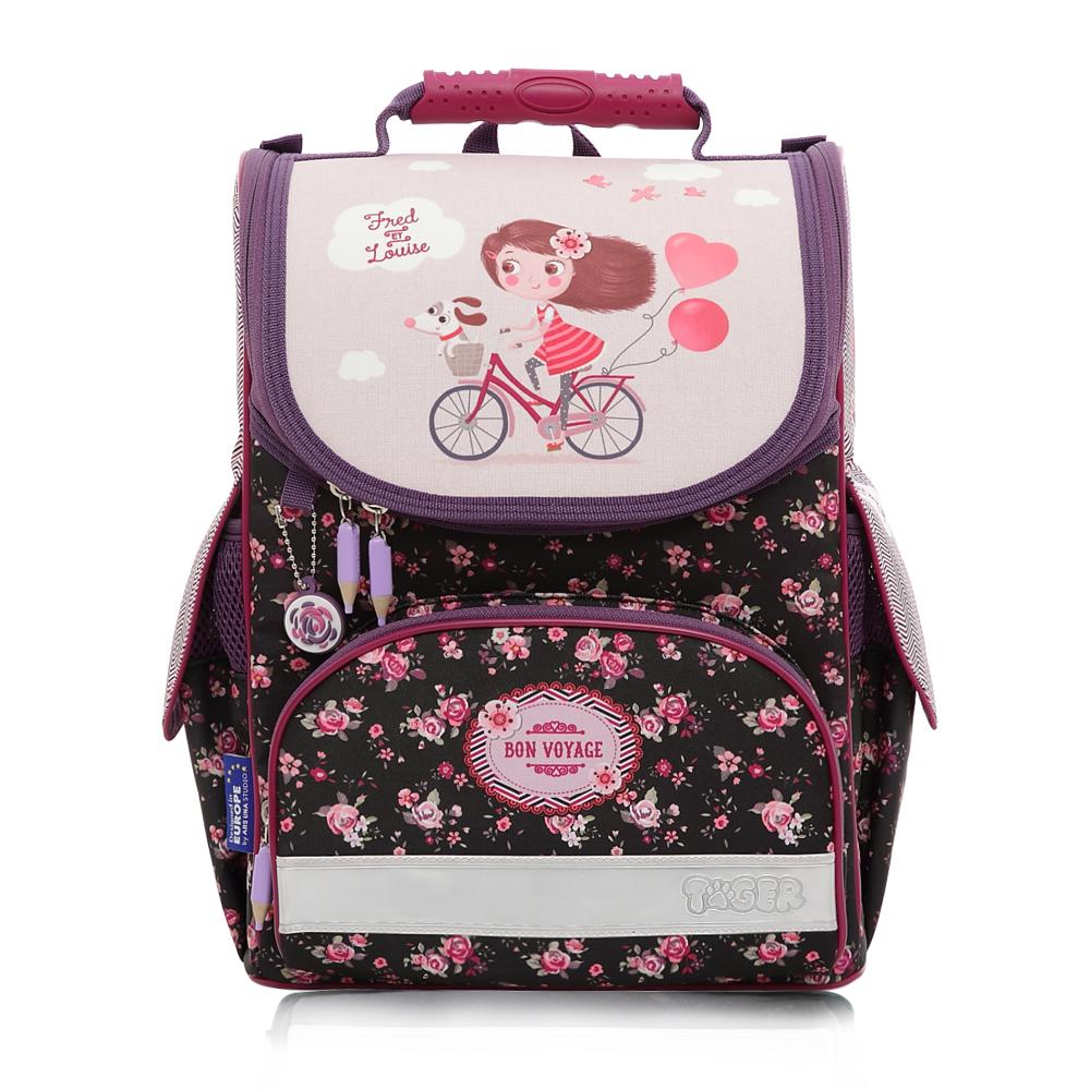 Tiger Family歐洲插畫家款小貴族超輕量護脊書包-單車少女