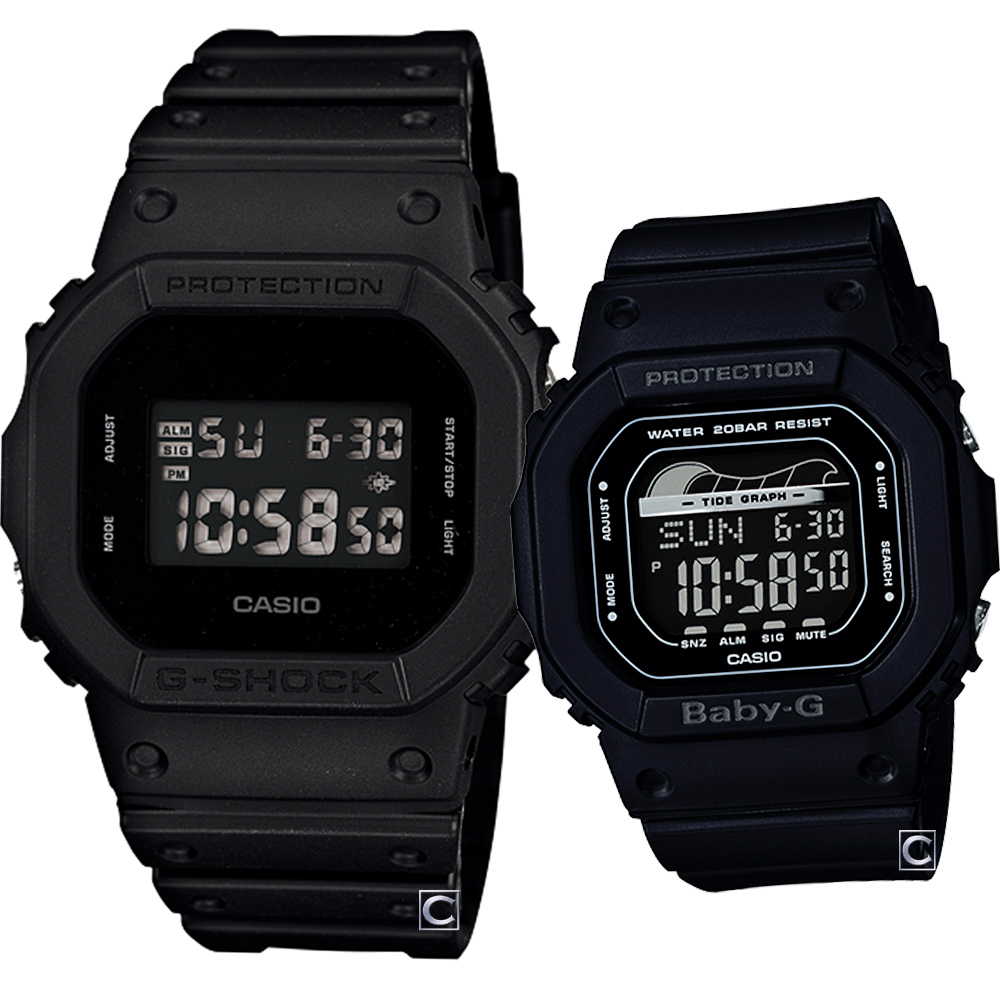 CASIO 經典磨砂霧面時尚對錶(DW-5600BB-1D+BLX-560-1)