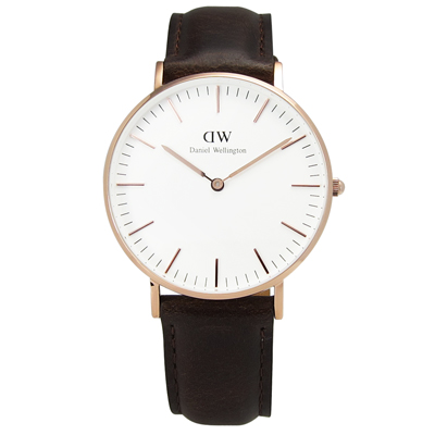 DW Daniel Wellington 皮革女錶-白x玫瑰金/36mm
