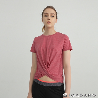 GIORDANO 女裝G-MOTION超輕涼感扭結T恤 - 61 仿段彩淺紫紅