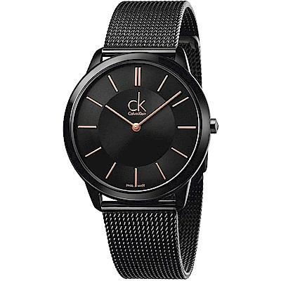 Calvin Klein CK Minimal 極簡米蘭帶手錶-黑/40mm