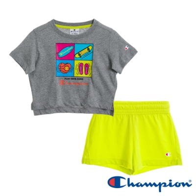 Champion EU童短袖套裝 灰x螢光黃