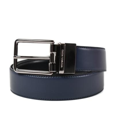 MICHAEL KORS 專櫃男款 滑面皮革雙面用寬版皮帶-黑/藍