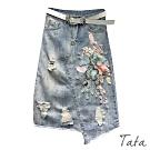 刺繡立體花刷破後開叉牛仔裙 TATA-(S~XL)