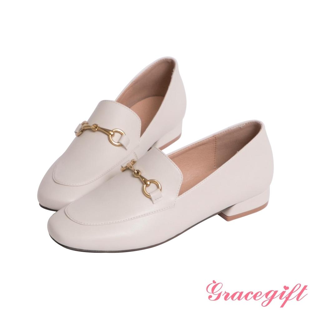 Grace gift-馬銜釦低跟樂福鞋 米白