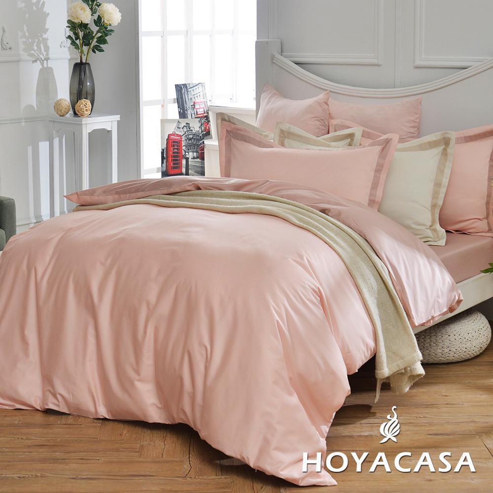 HOYACASA簡單生活 雙人300織長纖細棉被套床包四件組-朵拉粉