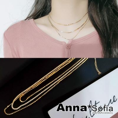 【3件5折】AnnaSofia 奢鑽圓片三層鍊 項鍊鎖骨鍊頸鍊(金系)