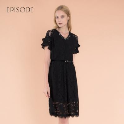 EPISODE - 黑色氣質顯瘦鑽飾V領蕾絲洋裝