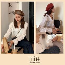 韓國木耳編微透上衣-TMH