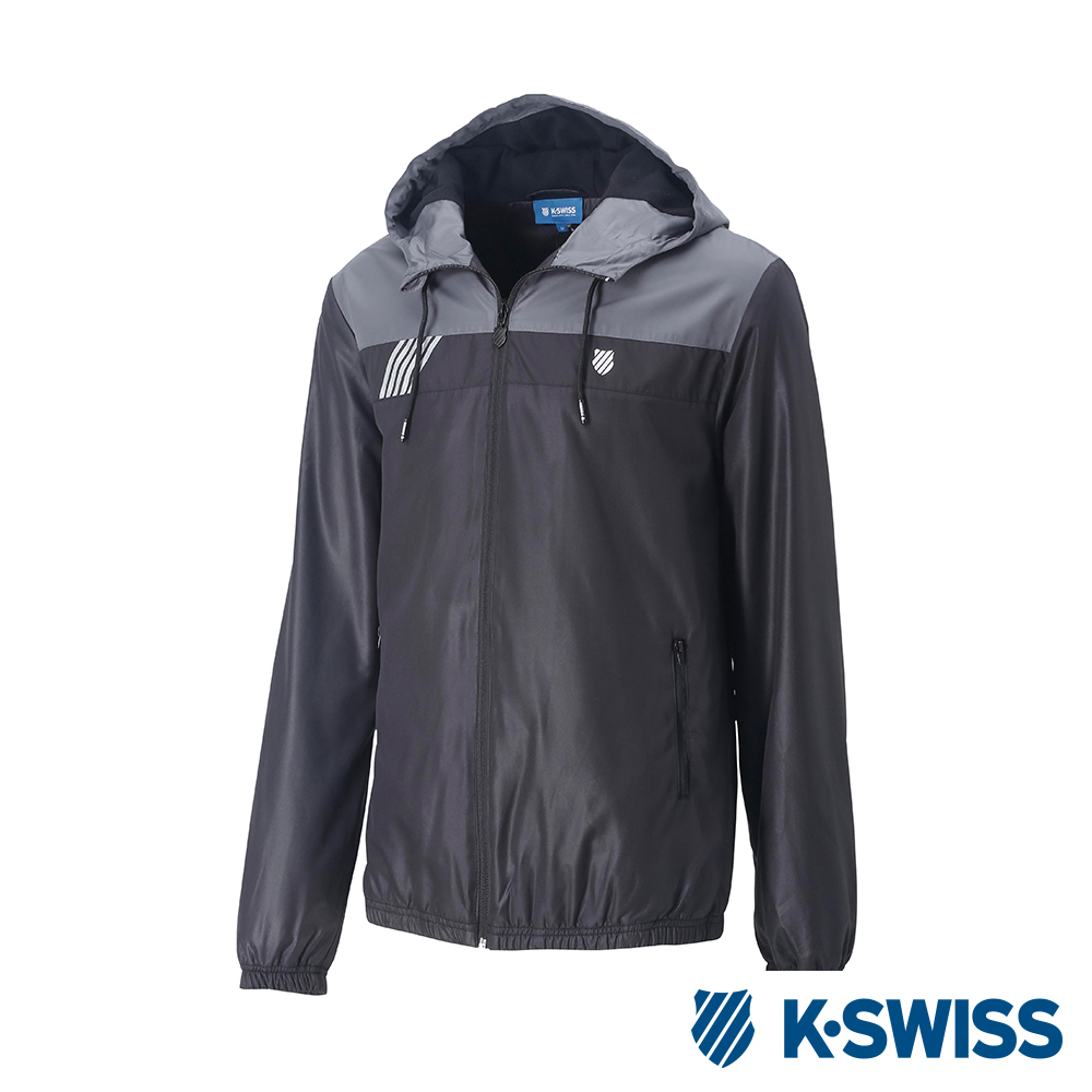 K-SWISS Caontrst Top Panel刷毛風衣外套-男-黑