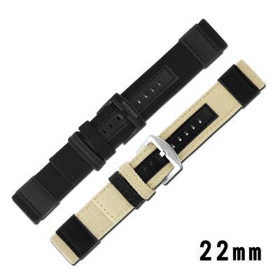 Watchband / 各品牌通用時尚指標休閒尼龍帆布錶帶-卡其/黑