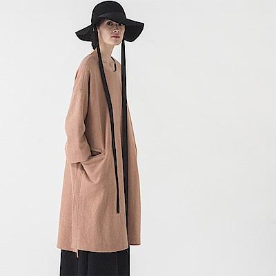 旅途原品_草枕 原創設計文藝羊毛混紡寬鬆長袖連衣裙-棕