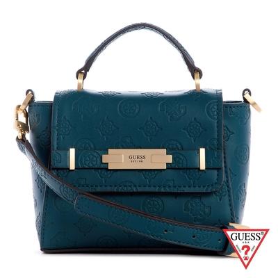 GUESS-女包-壓紋金屬LOGO手提肩背包-藍綠 原價2490