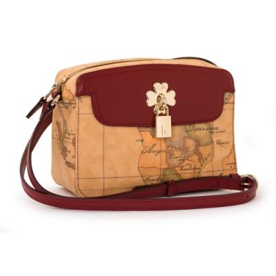 Alviero Martini 義大利地圖包 幸運草系列 鎖頭造型側背小包包-酒紅