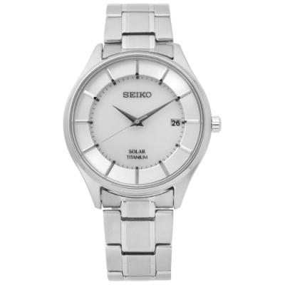SEIKO 精工 簡約 太陽能 藍寶石水晶 鈦金屬手錶-銀色/39mm
