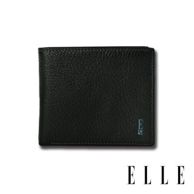 ELLE HOMME 經典款-3卡中翻窗格荔枝紋短夾- 紳士黑EL2070001