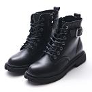 Camille's 韓國空運-正韓-皮帶釦綁帶拉鍊機車工程短靴-黑色