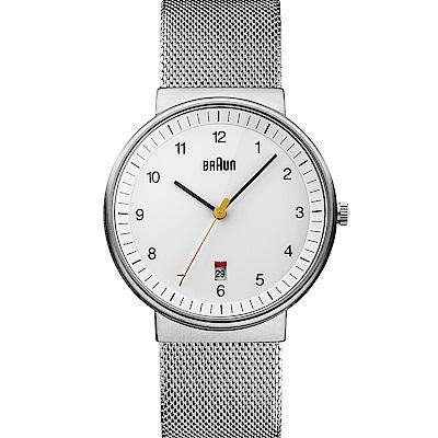 BRAUN德國百靈 經典日曆顯示 石英編織鋼帶錶  –白色/40mm