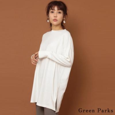 Green Parks 素面側開叉圓領長版上衣