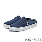 HANNFORT CAMPUS壓紋柔棉微包跟厚底穆勒鞋-女-溫柔藍