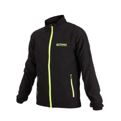 FIRESTAR 男彈力機能外套-慢跑 路跑 健身 訓練 立領外套 黑螢光綠