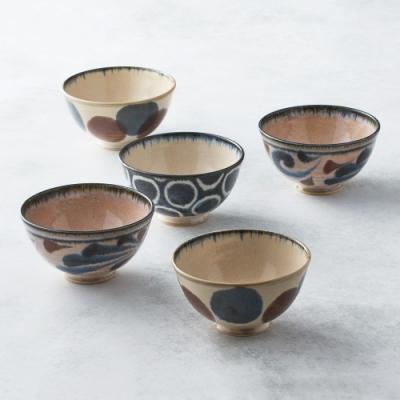 有種創意 日本美濃燒-筆青釉繪飯碗組(5件式)