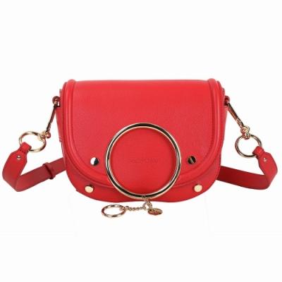 SEE BY CHLOE Mara 金屬環設計牛皮斜背包(紅色)