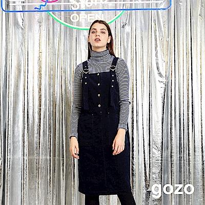 gozo 質感燈芯絨口袋吊帶裙(深藍)